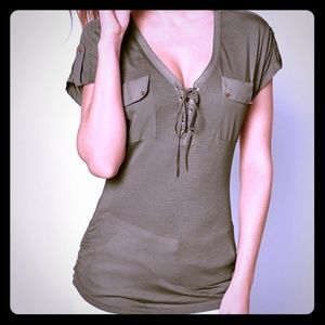 Venus Lace-up Short Sleeve Top XS